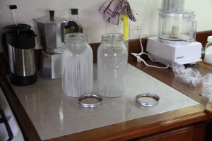 The two empty half-gallon jars that had two days worth of our milk delivery in them
