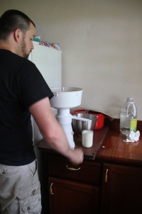 Dave my husband giving the cream separator a try