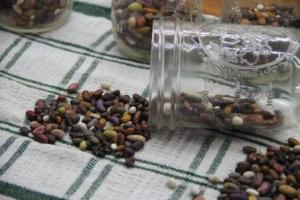 Dried beans get measured into jars