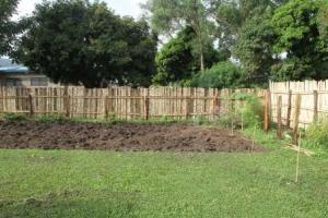 The garden plot beginning to go in