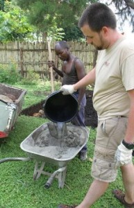 Dave and Nono mixing cement